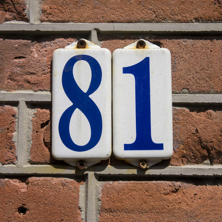 enameled house number eighty one  Blue lettering on a white background