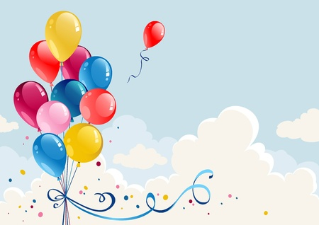 Illustration pour Birthday balloons background with space for text - image libre de droit