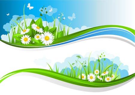 Summer banners with beautiful flowers under a blue sky