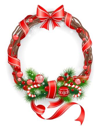 Illustration pour Christmas wreath with  spruce  tree - image libre de droit