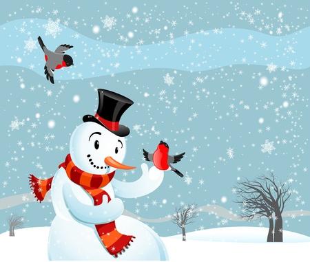 Snowman  and birds bullfinch