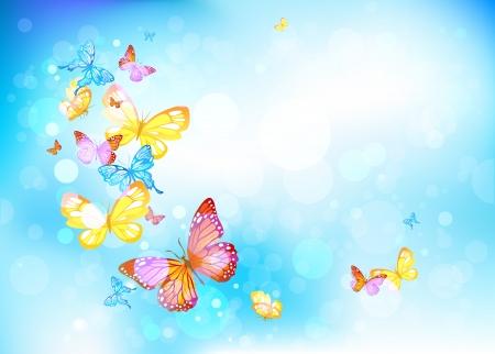 Ilustración de Beautiful butterflies in a blue sky - Imagen libre de derechos