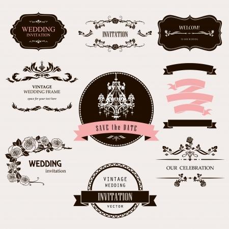 Set of celebration frames and labels with vintage design.