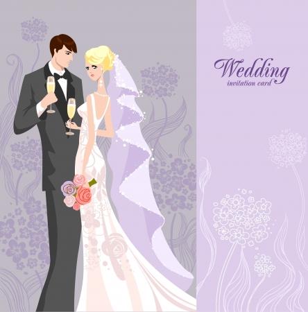 Foto de Wedding invitation with bride and groom - Imagen libre de derechos