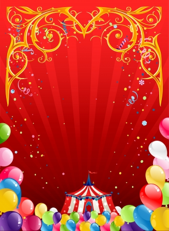 Festive circus background  with space for text