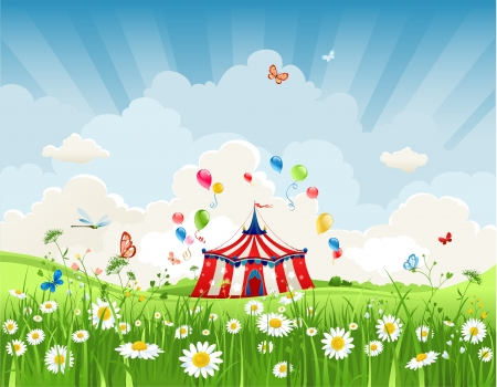 Travelling circus under blue sky