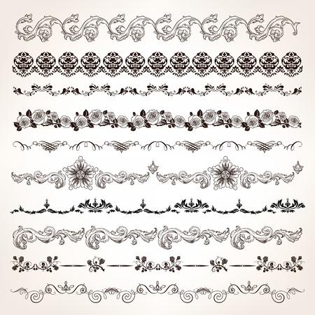 Ornamental vintage border set with engrave floral and calligraphic design elements.
