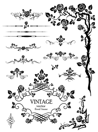 Vector elements and page decoration with roses