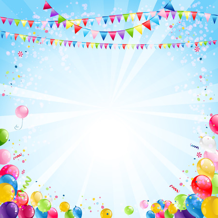 Holiday bright background with festive balloons