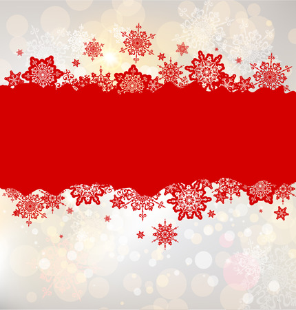 Illustration pour Christmas background with red snowflakes with place for text - image libre de droit