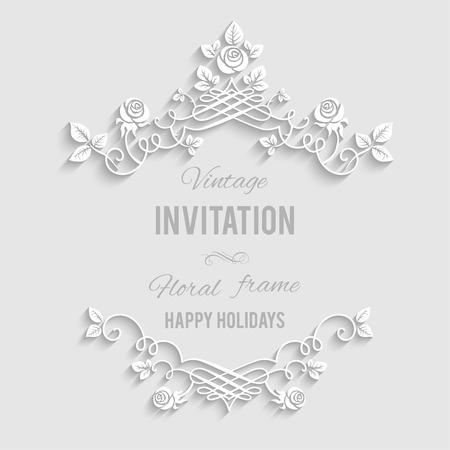 Foto de Elegant floral frame with place for text. Festive backdrop for greetings, invitations or any text - Imagen libre de derechos