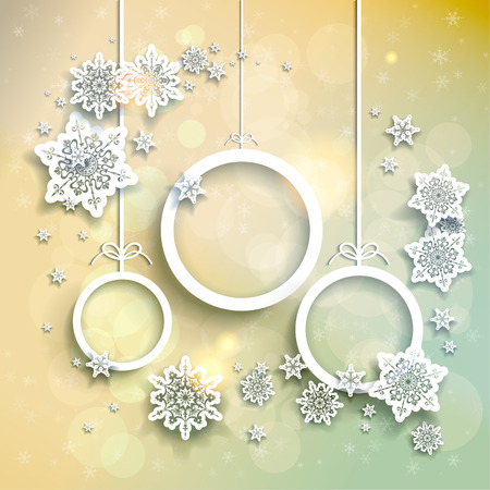 Illustration for Light christmas background with snowflakes and abstract christmas balls - Royalty Free Image