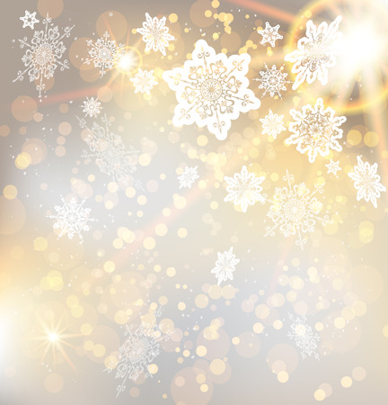 Illustration for Festive christmas background with snowflakes and lights. Copy space - Royalty Free Image