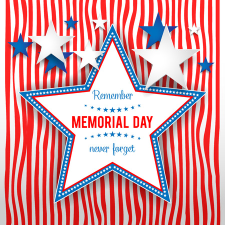 Star on striped background. Holiday patriotic card for Independence day, Memorial day, Veterans day, Presidents day and so on.