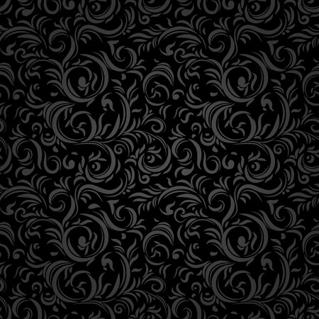Black stylized seamless pattern. Holiday background.