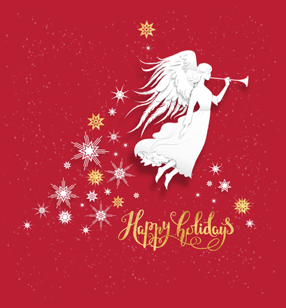 Christmas Leaflet Background.Christmas Background With Silhouette Of An Angel On A Snowy