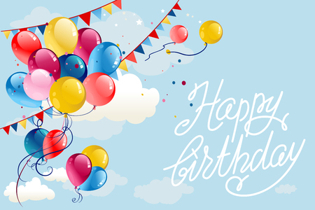 Illustration for Happy birthday background with balloons and flags on blue sky. Holiday cartoon illustration. - Royalty Free Image