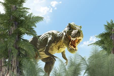 Foto per dinosaur in the jungle background. 3D render - Immagine Royalty Free