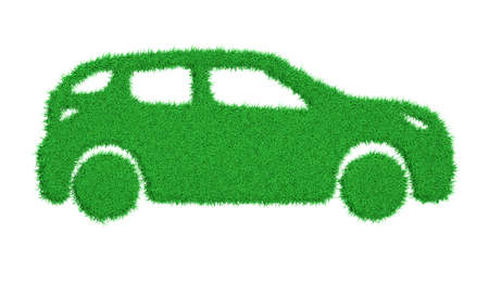 Photo pour 3d rendering the silhouette of a car overgrown with green grass - image libre de droit