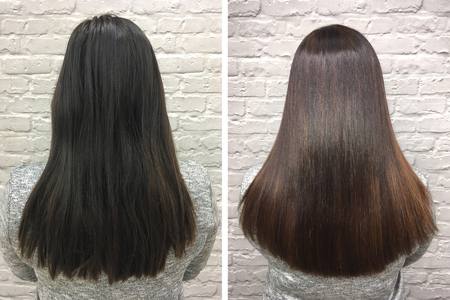 Photo pour Sick, cut and healthy hair. Hair before and after treatment. - image libre de droit