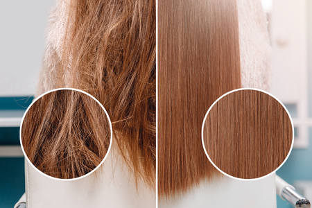 Foto de Sick, cut and healthy hair care straightening. Before and after treatment. - Imagen libre de derechos