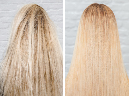 Photo pour Before and after straightenin treatment. Sick, cut and healthy hair care keratin - image libre de droit
