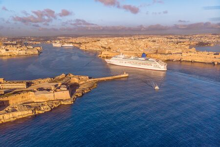 Photo for Cruise ship liner port of Valletta, Malta sunrise. Aerial view photo - Royalty Free Image