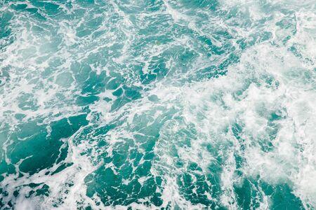 Photo pour Natural background storm sea blue ocean with foam and waves. - image libre de droit