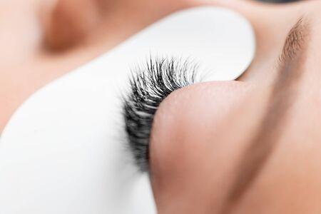 Photo pour Macro photo woman with long lashes in beauty salon. Concept eyelash extension procedure - image libre de droit