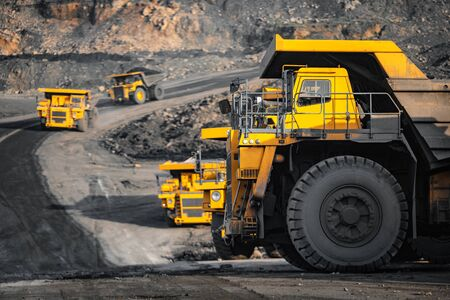Photo for Open pit mine industry, big yellow mining truck for coal anthracite. - Royalty Free Image