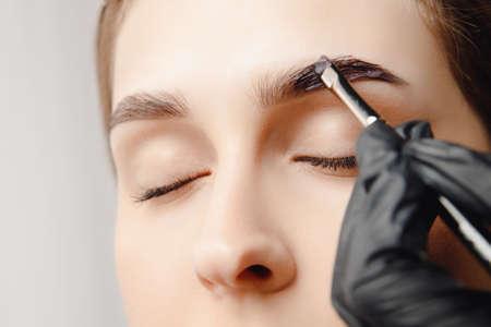 Photo pour Eyebrow tint, master correction of brow hair women - image libre de droit