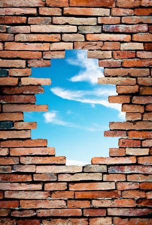 porous wall to see the blue sky