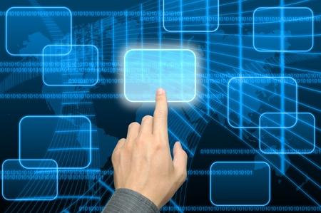 Photo pour businessman hand pushing a button on a touch screen interface  - image libre de droit