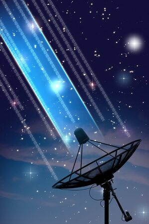 Photo for satellite dish under starry night sky - Royalty Free Image