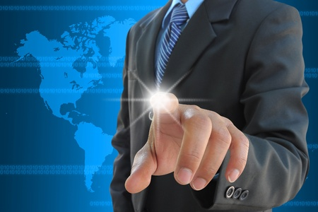 businessman hand pushing a touch screen interface