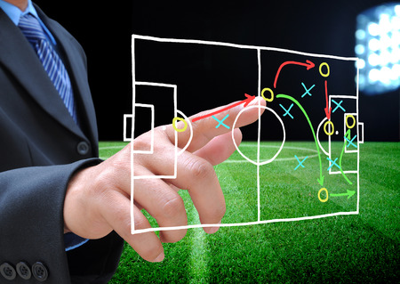 Photo for plan of soccer manager at soccer field - Royalty Free Image