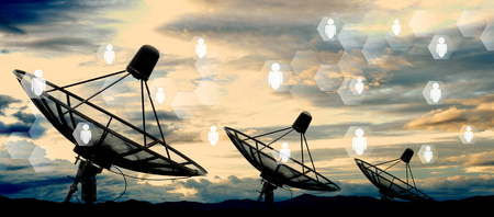 satellite dish antennas on sky and social network