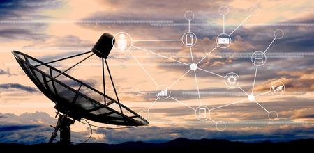 satellite dish antennas on sky