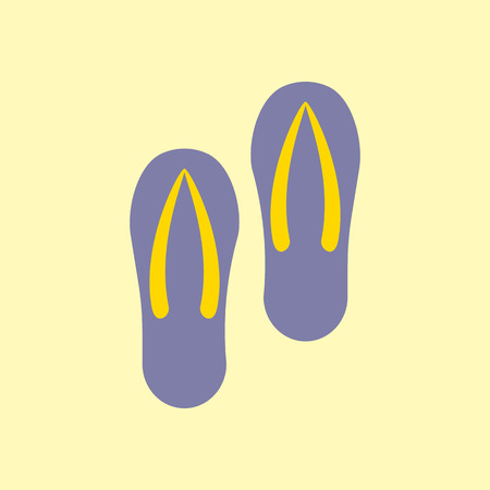 69d11cf45031 Pair of flip-flops isolated on a yellow background. Vector ...