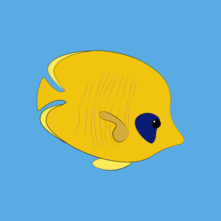 Chaetodon semilarvatus fish on the blue background. Vector illustration