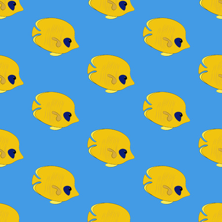Chaetodon semilarvatus fish seamless pattern on the blue background. Vector illustration
