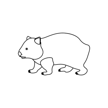 Ilustración de Wombat coloring pages on the white background, Vector illustration - Imagen libre de derechos