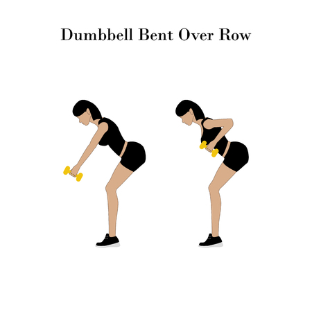 Illustration pour Dumbbell bent over row exercise on the white background. Vector illustration - image libre de droit