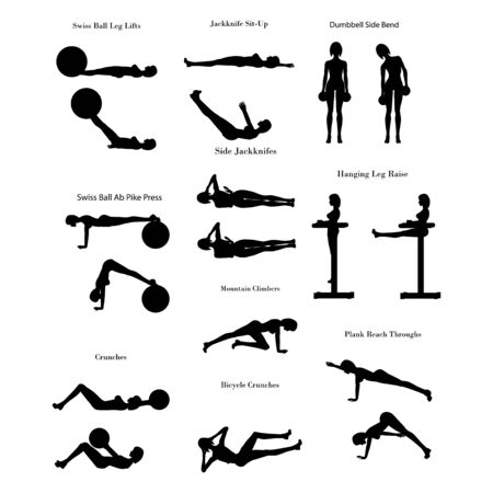 Ilustración de Workout exercise illustration silhouette - Imagen libre de derechos