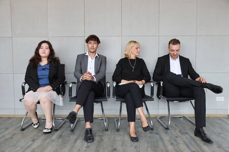 Photo pour portrait of multiethnic business people in working dress who sitting and line up for HR interview - image libre de droit