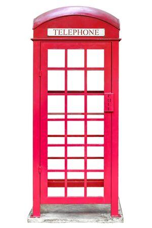 Foto für red public telephone booth isolated and white background - Lizenzfreies Bild