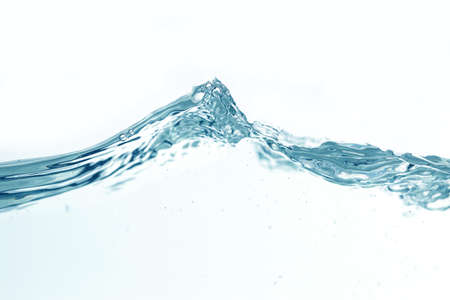 Photo pour Close up water splash with air bubbles. Fresh and clean surface aqua flowing in wave and clean water on white background isolated. Advertising image with free space for your work - image libre de droit