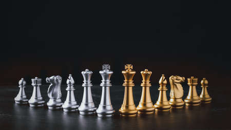 Photo pour Business chess board game of business strategy and tactic on retro wooden table, idea for management competition, success and leadership concept with copy space for your advertising content. - image libre de droit