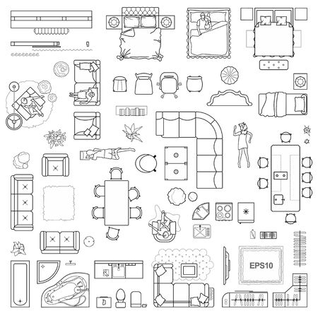 Illustration for Floor plan icons set for design interior and architectural project (view from above). Furniture thin line icon in top view for layout. Blueprint apartment. Vector - Royalty Free Image