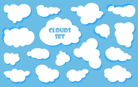 Illustration for Cartoon Blue sky with clouds on the shiny day. Silhouette of white fluffy clouds isolated on blue background. Vector set - Royalty Free Image